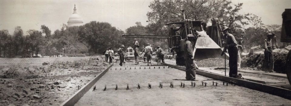 Road construction along the National Mall, Washington, DC, 1934.